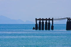 Samui island pier in blue sea Stock Images