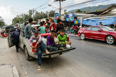 Samui island, Thailand - 12 JUNE 2016: Burmese workers. Delovered in pick up minivan from work to home in Asia Stock Photography