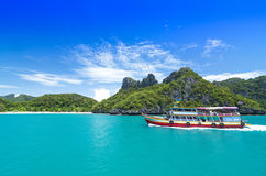 SAMUI, THAILAND - JUNE 30: undefined big boat of traveler ship o Stock Image