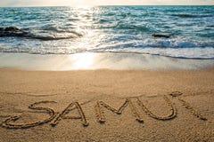 Samui written on the sand Royalty Free Stock Image