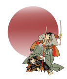 Samurai 01. An illustration in the Ukiyo-e style of a samurai holding a sword standing over the body of a fallen foe Stock Image