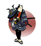 Samurai 02. An illustration in the Ukiyo-e style of a samurai holding a helmet, dressed for battle, calmly awaiting his foe Royalty Free Stock Image