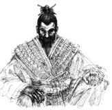 Samurai. The old samurai in seiza Royalty Free Stock Image