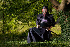 Samurai. Sitting under the tree royalty free stock images