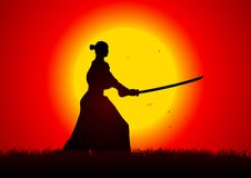 Samurai. A samurai stance with the sunset as the background Royalty Free Stock Images