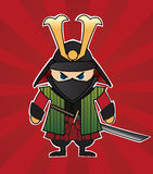 Samurai. Cartoon illustration of samurai on red sunburst background Stock Photos