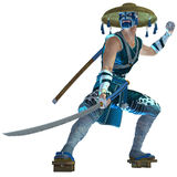 Samurai. 3D rendered samurai with sword on white background isolated Royalty Free Stock Photos