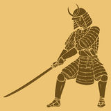 Samurai. A samurai in carved style illustration Stock Photos