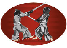 Samurai. Fighters in Kendo outfits Royalty Free Illustration
