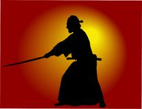 Samurai. Silhouette at sunset light Royalty Free Stock Photography