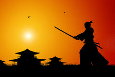 Samurai. Illustration of ancient japanese scene Royalty Free Stock Photography