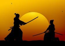 Samurai. Silhouette illustration of samurai combat Royalty Free Stock Photo