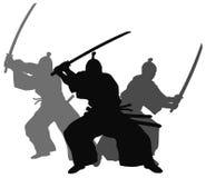 Samurai. Silhouette illustration of samurai combat Stock Images