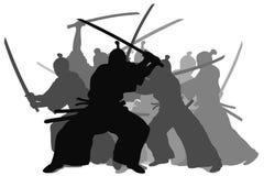 Samurai. Silhouette illustration of samurai combat Royalty Free Stock Photography