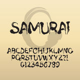 Samurai, Abstract Japanese Brush Font and Numbers Stock Photo