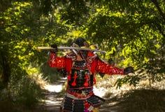 Samurai in armatura antica, con una spada pronta ad attaccare Fotografia Stock Libera da Diritti