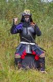 Samurai in armatura con le bacchette e la zolla Fotografie Stock