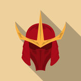 Samurai armor helmet with long shadow in a flat design. Vector illustration eps10 Stock Photo
