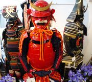 Samurai armour wear by ancient Japanese soldier. Shot of Samurai armour wear by ancient Japanese soldier Royalty Free Stock Photography