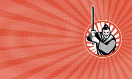 The Samurai Bakehouse Business card. Business card showing Illustration of a samurai warrior facing front with katana sword set inside circle done in retro style vector illustration