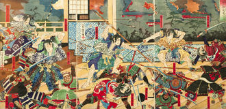Samurai battle on old Japanese Traditional paintings. Samurai battle on old vintage Japanese Traditional paintings Stock Image