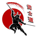 Samurai card template. Warrior and sword, fight and ancient, vector illustration Stock Photography