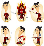 Samurai cartoon action set Royalty Free Stock Photography