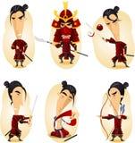 Samurai cartoon action set royalty free illustration