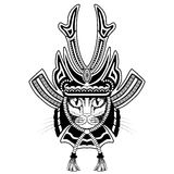 Samurai cat tattoo. Royalty Free Stock Image