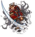 Samurai che taglia attraverso l'illustrazione di vettore del fondo Fotografia Stock