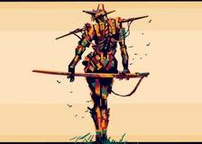 Samurai colorful royalty free illustration