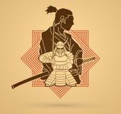 2 Samurai composition cartoon graphic vector. 2 Samurai composition cartoon illustration graphic vector Royalty Free Stock Photo
