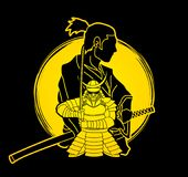 2 Samurai composition cartoon graphic vector. 2 Samurai composition cartoon illustration graphic vector Stock Photography