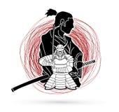 2 Samurai composition cartoon graphic vector. 2 Samurai composition cartoon illustration graphic vector Royalty Free Stock Photography