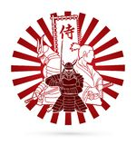 3 Samurai composition with flag Japanese font mean Samurai graphic vector. 3 Samurai composition with flag Japanese font mean Samurai illustration graphic vector Royalty Free Stock Photos