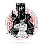 3 Samurai composition with flag Japanese font mean Samurai graphic vector. 3 Samurai composition with flag Japanese font mean Samurai illustration graphic vector Royalty Free Stock Photo