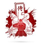 3 Samurai composition with flag Japanese font mean Samurai graphic vector. 3 Samurai composition with flag Japanese font mean Samurai illustration graphic vector Stock Photos