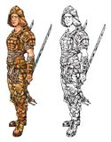 Samurai con dos espadas stock de ilustración