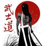 Samurai con el fondo Imagen de archivo libre de regalías