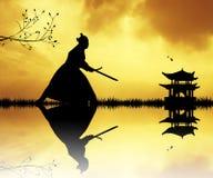 Samurai con le spade al tramonto Fotografie Stock Libere da Diritti