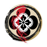Samurai crest. Bloody samurai family crest in grunge style Stock Photo