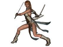 Samurai da mulher da luta com katana ilustração do vetor