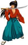 Samurai de la historieta Imágenes de archivo libres de regalías