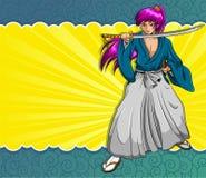 Samurai de Manga Imágenes de archivo libres de regalías