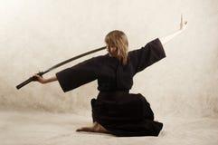 Samurai della ragazza Immagini Stock Libere da Diritti