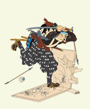 Samurai destroys picture Royalty Free Stock Images