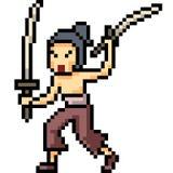 Samurai di arte del pixel di vettore Fotografie Stock