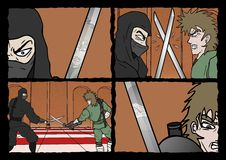 Samurai duel comic scene Stock Image