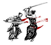 Samurai duel. Two Japanese fighting sword. Ink on paper drawing Stock Image