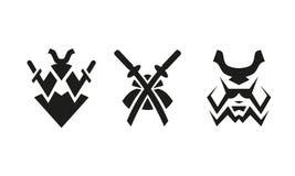 Samurai e spade Insieme in bianco e nero astratto di logo Immagine Stock